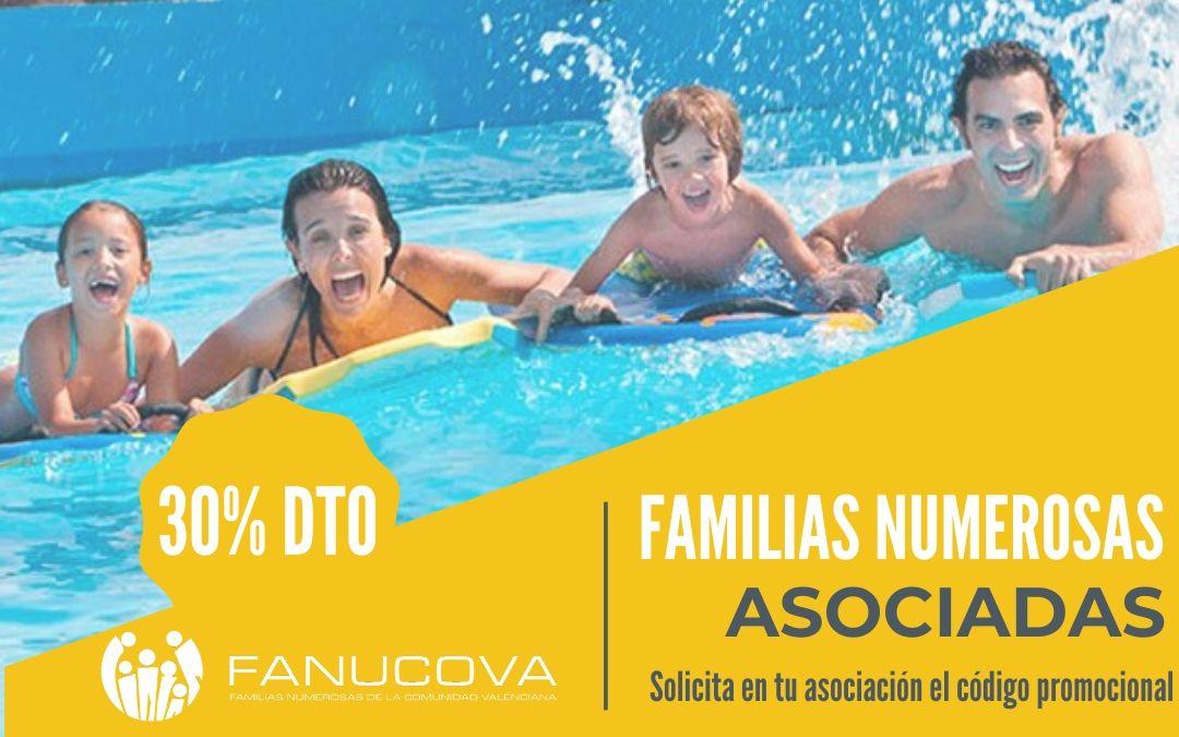 Por ser familia numerosa asociada disfruta del 30% de descuento en Aquópolis