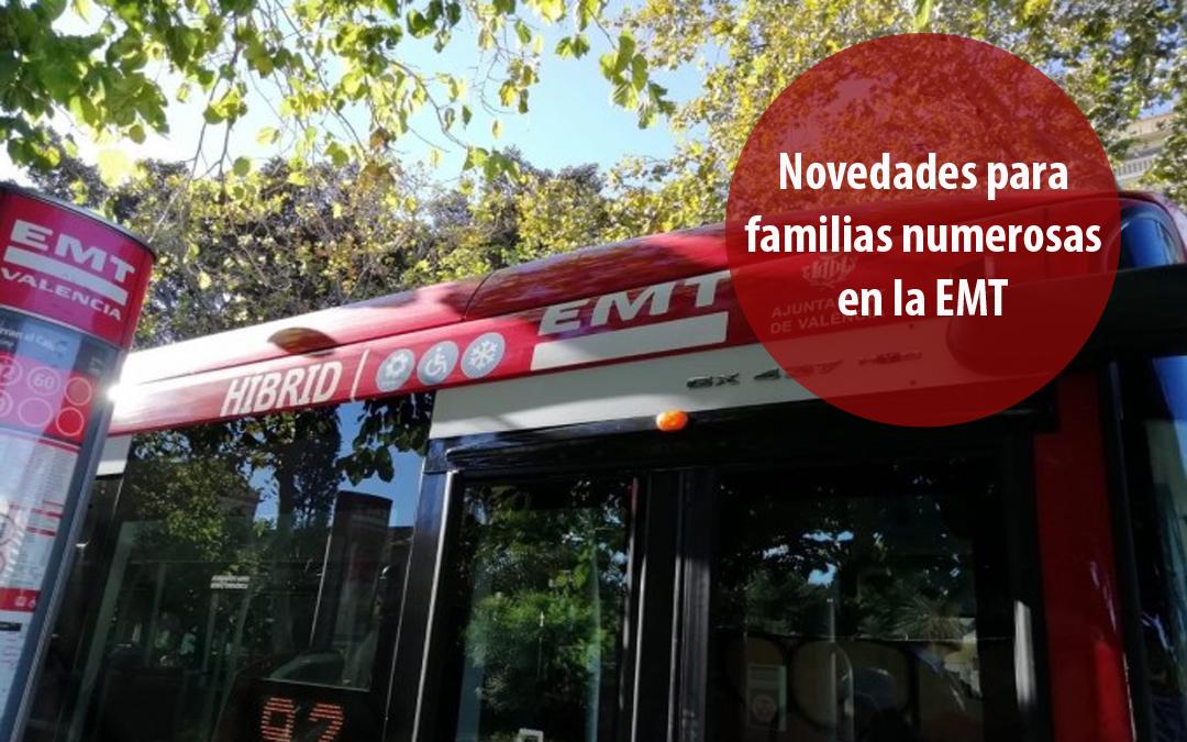 Novedades sobre los descuentos para familias numerosas en los autobuses de la EMT