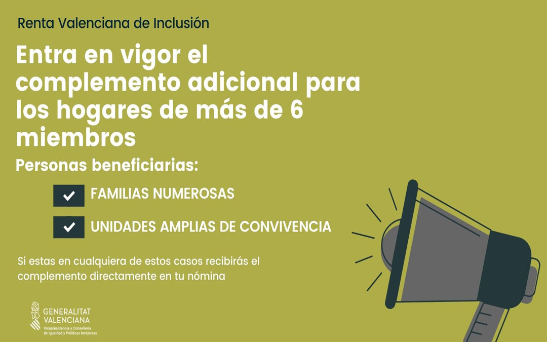 Ya está en vigor el complemento adicional de la Renta Valenciana