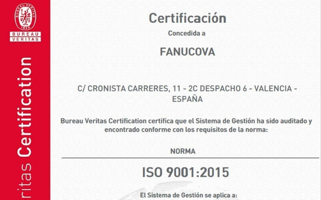 FANUCOVA certifica su sistema de gestión de calidad